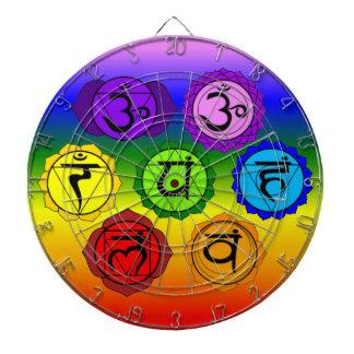 ヨガの霊気7のチャクラの記号の虹の投げ矢板 ダーツボード