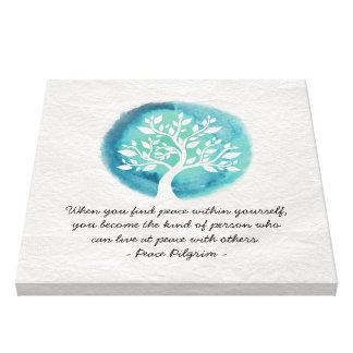 ヨガの黙想はエレガントな水彩画の木を引用します キャンバスプリント