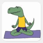 ヨガをしているTレックスの恐竜 スクエアシール