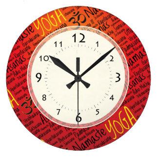 ヨガ休みなくAsanasはパターンを置きます ラージ壁時計