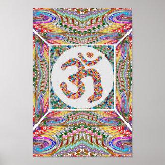 ヨガ部屋: 背部中心のOmの信念 ポスター