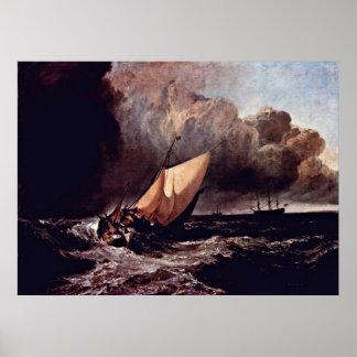 ヨセフMallordウィリアムターナー著嵐のボート ポスター