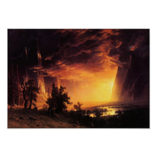 ヨセミテの谷ポスターの日没 ポスター