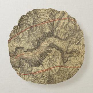 ヨセミテの谷2の地形図 ラウンドクッション