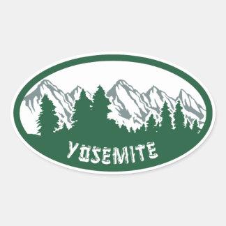 ヨセミテ国立公園のパノラマ 楕円形シール