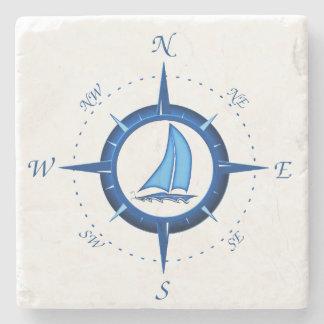 ヨットおよびコンパス面図 ストーンコースター