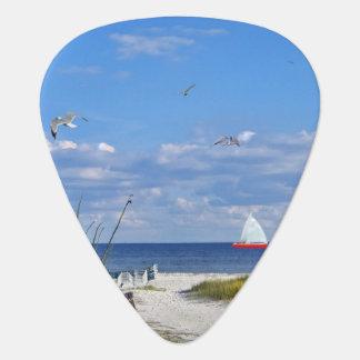 ヨットとのビーチそしてオーシャンビュー ギターピック