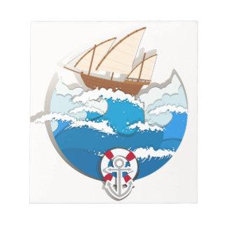ヨットとの海場面 ノートパッド