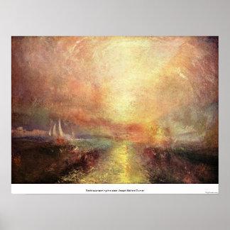 ヨットに乗りま海岸-ヨセフMallordターナー--に近づきます ポスター