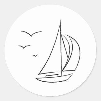 ヨットのステッカー ラウンドシール
