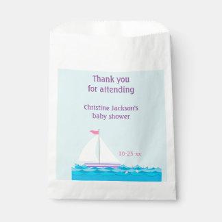 ヨットのピンク及び紫色のベビーシャワーの好意のバッグ フェイバーバッグ
