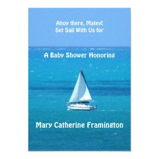 ヨットのベビーシャワーの招待状 カード