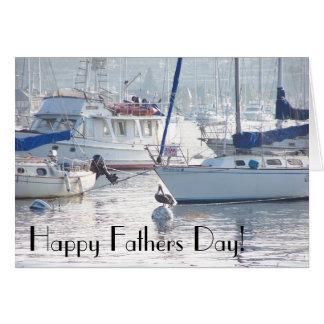 ヨットのボート港の海のビーチの父の日 カード
