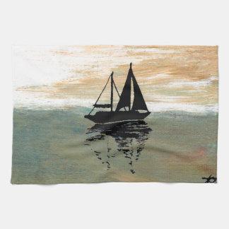 ヨットの反射のCricketDianeの海の物 キッチンタオル