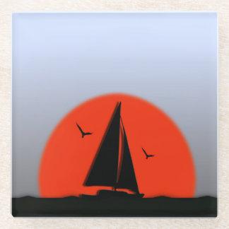 ヨットの日没 ガラスコースター