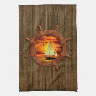 ヨットの日没 キッチンタオル