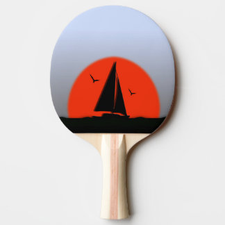 ヨットの日没 卓球ラケット