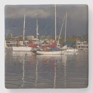 ヨットの海港の航行ボートの石のコースター ストーンコースター