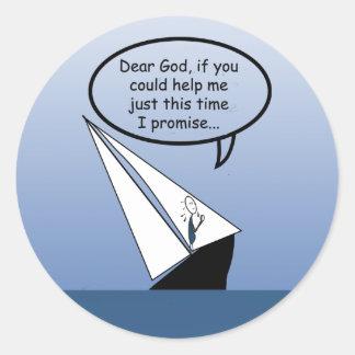 ヨットの航行は親愛なる神のおもしろいなステッカーを揺すります ラウンドシール