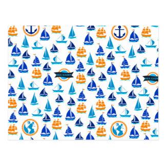 ヨットの船のボートの航海のな海パターン ポストカード