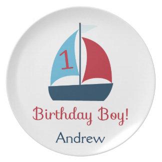 ヨットの誕生日の男の子のプレート プレート