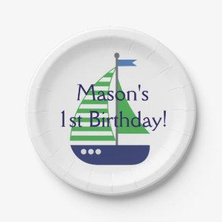 ヨットの誕生日の紙皿 ペーパープレート