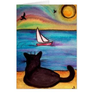 ヨットの黒猫 カード