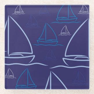ヨットパターン ガラスコースター