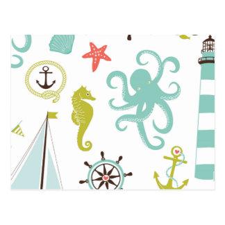 ヨット及び海洋生物パターン ポストカード