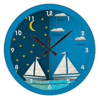 ヨット日夜時計 ラージ壁時計