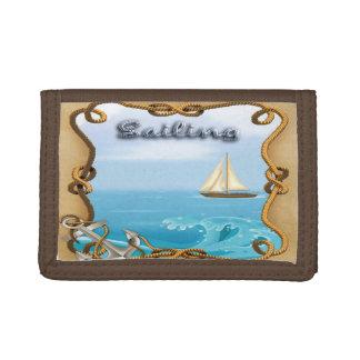 ヨット-航行の三つ折り財布