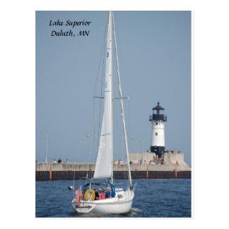 ヨットAhoy! 、スペリオル湖ダルース、MN ポストカード