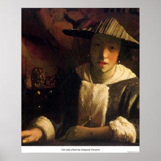 ヨハネスVermeer著フルートを持つ女の子 ポスター