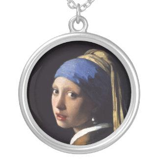 ヨハネスVermeer著真珠のイヤリングを持つ女の子 シルバープレートネックレス