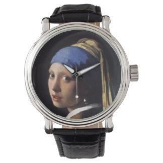 ヨハネスVermeer著真珠のイヤリングを持つ女の子 腕時計
