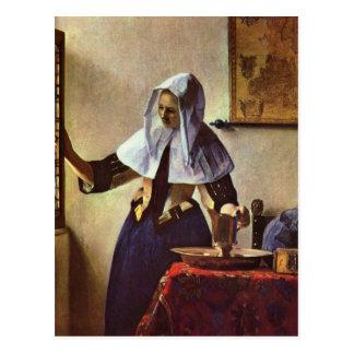ヨハネスVermeer -水差しを持つ若い女性の ポストカード