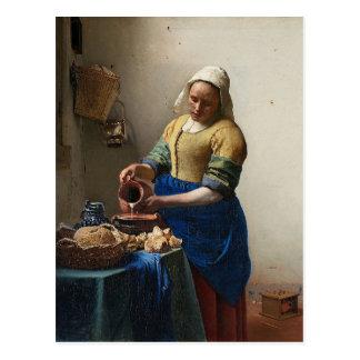 ヨハネスVermeer - Milkmaidの絵画 ポストカード