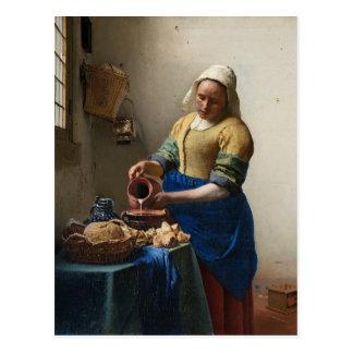 ヨハネスVermeer - Milkmaidの郵便はがき ポストカード