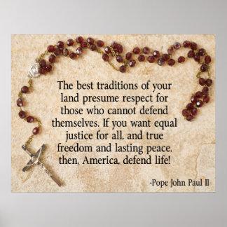 ヨハネ・パウロ法皇は生命を守ります ポスター