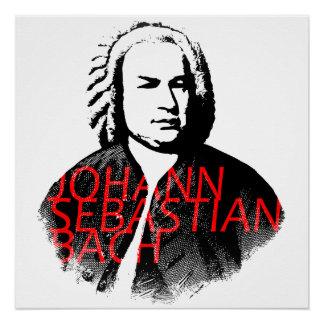 ヨハン・ゼバスティアン・バッハのポートレートおよび赤い手紙 ポスター