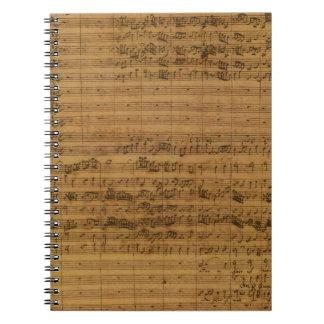 ヨハン・ゼバスティアン・バッハ著ヴィンテージの楽譜 ノートブック