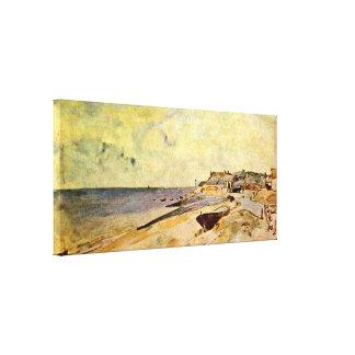 ヨハンBarthold Jongkind - Steの住所で浜に引き上げて下さい キャンバスプリント