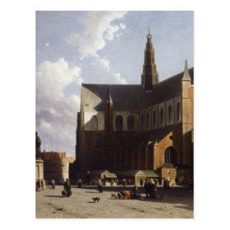 ヨハンHendrik著ハールレム日曜日の市場の眺め ポストカード