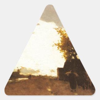 ヨハンHendrik Weissenbruch著運河に沿って 三角形シール