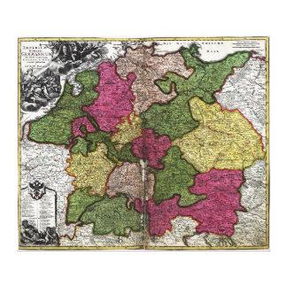 ヨハンHomann著インペリウムのロマノGermanicumの地図 キャンバスプリント