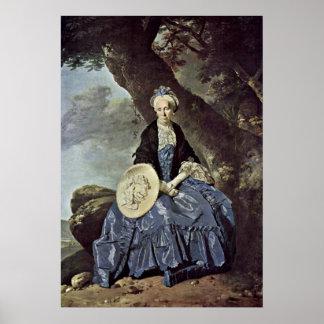 ヨハンZoffany著夫人のOswaldポートレート ポスター