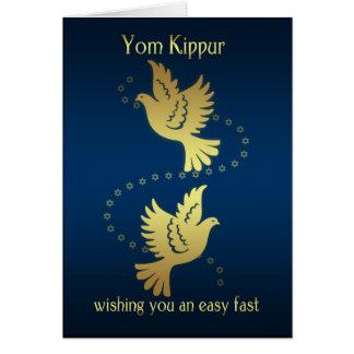 ヨム・キプル-金ゴールドの効果の鳩 グリーティングカード