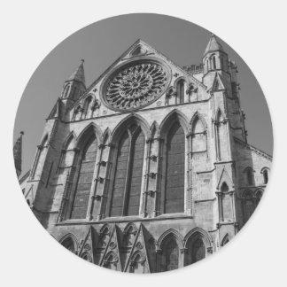 ヨークの牧師のカテドラルの白黒ステッカー ラウンドシール
