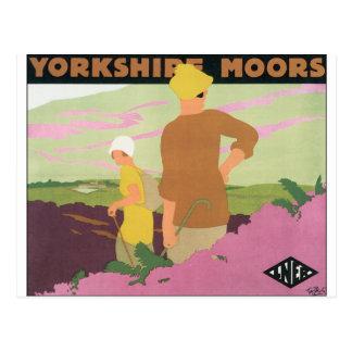 ヨークシャのためのヴィンテージ旅行ポスターは繋ぎ止めます ポストカード