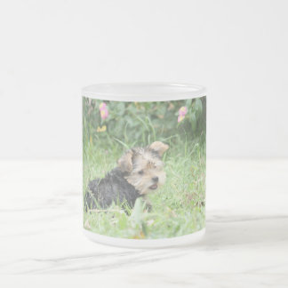 ヨークシャの子犬 フロストグラスマグカップ